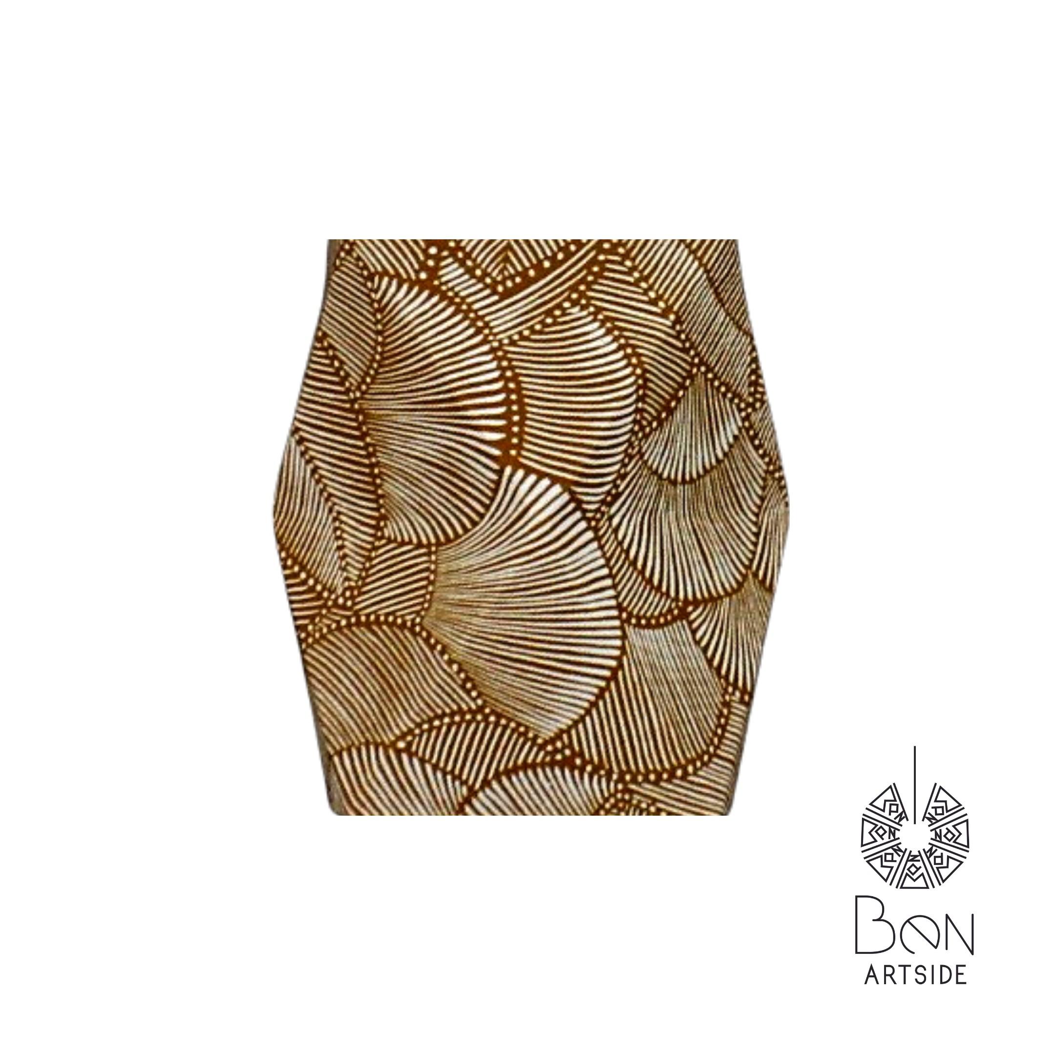 F tissu blanc motif noir & doré