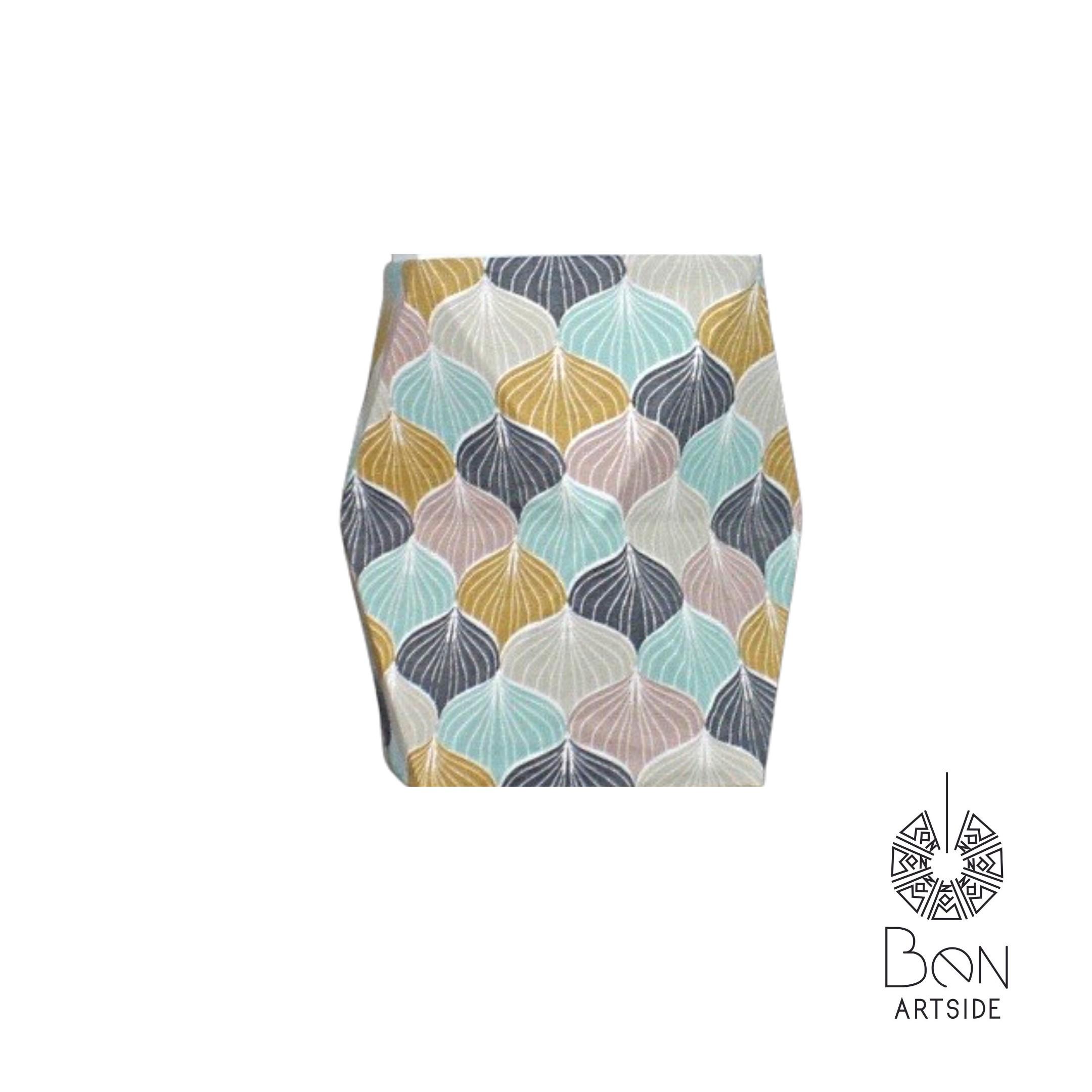F Tissu jaune motif fleure & oiseau